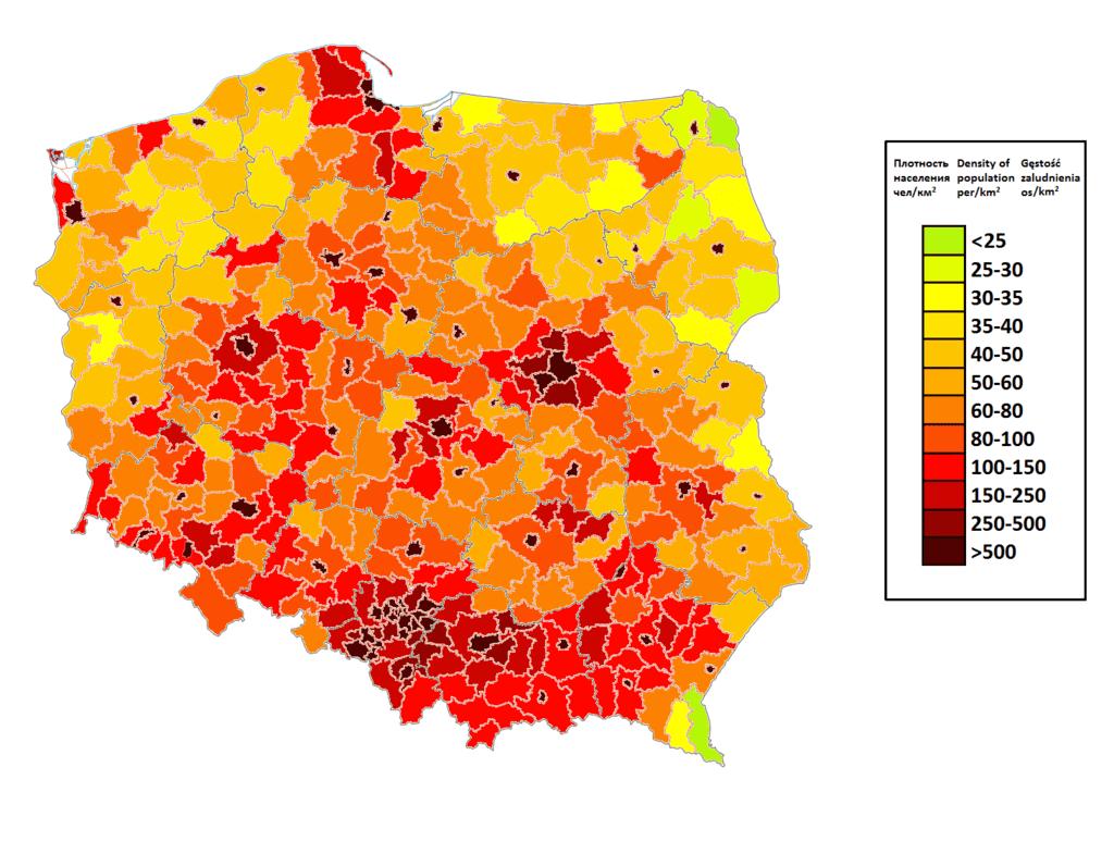 Плотность населения Польши