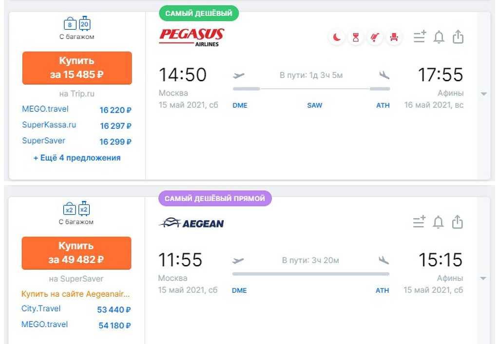 Стоимость авиарейсов в Афины