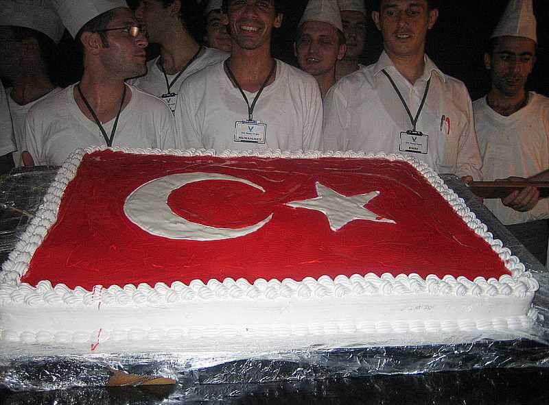 Торт в виде турецкого флага